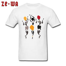 Exotic Style T-shirt Men White Tshirt African Dancers Silhouette T Shirt Art Design Woman 100% Cotton Tops Tees Mother Day Gift(China)