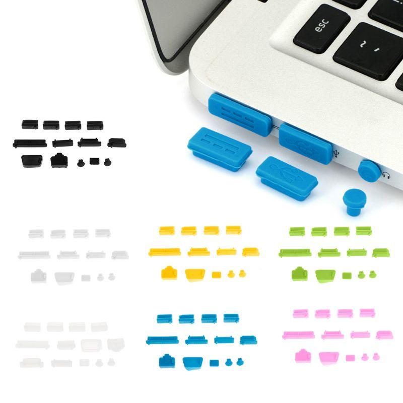 Защитные Заглушки для ноутбука, 13 шт., защита от пыли, из мягкого силикона, с usb-портом для передачи данных