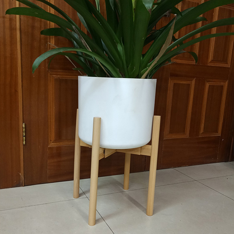 Adjustable Plant Stand Holder Rack Wooden Sturdy For Flower Potted Indoor Outdoor E2S