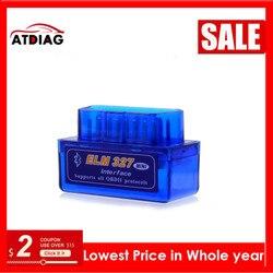 Super Mini Elm327 Bluetooth obd OBD2 V2.1 Elm 327 V 2.1 Car Diagnostic Tool Scanner Car Co de Reader