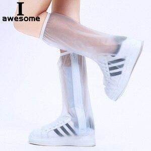 Waterproof Rain Reusable Shoes Cover Slip-resistant Zipper Rain Boots Overshoes High Quality Black Blue Blue High Shoes Cover