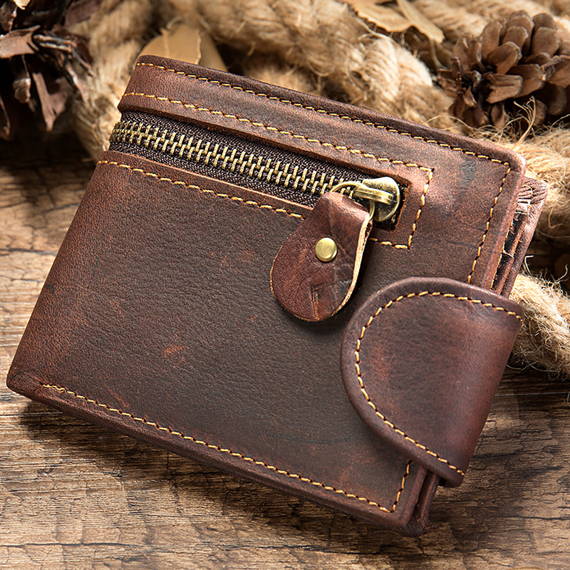Men's Wallet Genuine Leather Purse For Men Vintage Male Leather Purse Zipper Slime Short Wallet For Men Designer Money Bag 7042