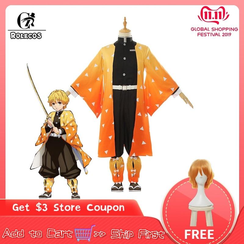 Rolecos anime traje kimetsu não yaiba cosplay demônio slayer agatsuma zenitsu cosplay traje homem quimono traje de halloween