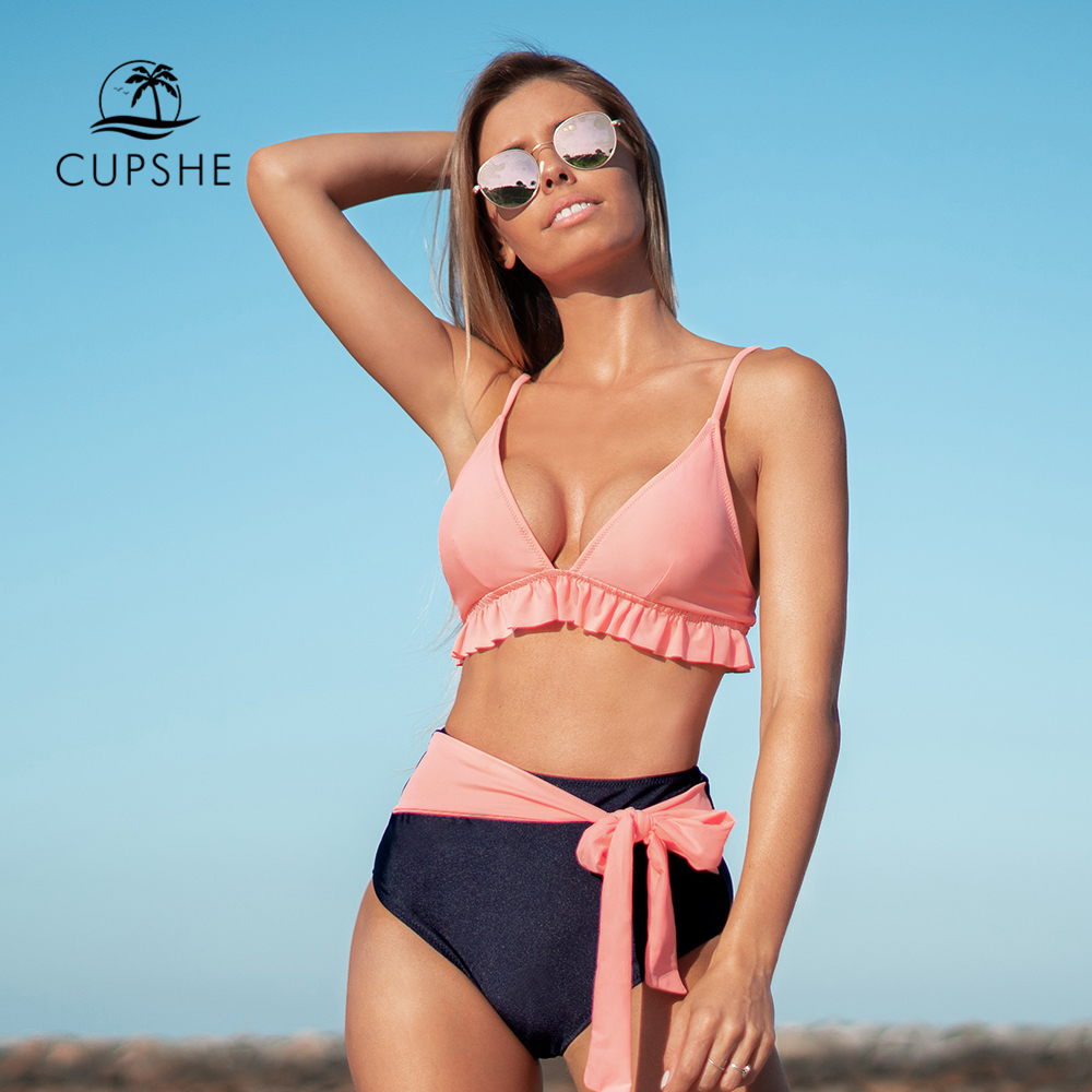 CUPSHE Soft Pink Ruffled High-Waisted Bikini Sets Sexy Lace Up Swimsuit Two Pieces Swimwear Women 2020 Beach Bathing Suits