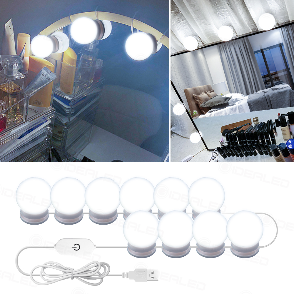 Led Makeup Mirror Lights Touch Dimming Vanity Dressing Table Lamp Bulb USB <font><b>12V</b></font> Hollywood Make Up Mirror Lamp for table desk image