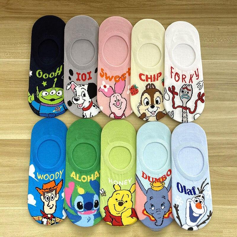 Disney Girl Cute Cartoon Minnie Mickey Cotton Socks New Fashion Soft Cotton Short Socks 1Pair 35-40