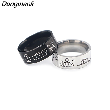 K1638 2020 New Style The little prince and the fox Ring For Men women Stainless Steel Ring For Male Jewelry In Black Men Gifts portonary the king of lion fashion ring made of stainless steel in gray color for both man and women beauty and jewelry