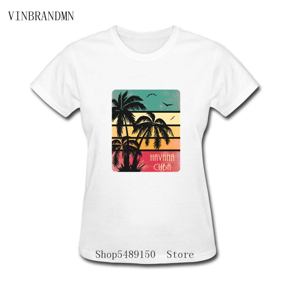 100% Cotton Beach Clothing Retro Hipster Havana Tshirt Vintage Sunset Kuba Cuba Party DJ Club T Shirt Che Guevara Women T-Shirts image