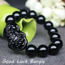 Bracelet Shui-Stone Good-Luck Wristband Black Women for Stretch Feng Pi Xiu Wealth