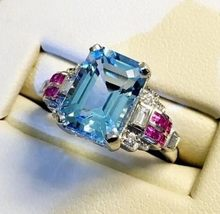 Silver 925 Jewelry Ring Aquamarine Sapphire Party Classic 925 Sterling Silver Rings Jewelry Woman Wedding Gift Luxury Jewelry