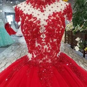 Image 5 - LSS265 peri kırmızı düğün parti elbise yüksek boyun kap kollu açık geri aplikler kek tarzı balo elbise daha katmanlı prenses elbise