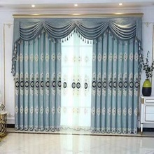 Chinese Style Sun Pattern Jacquard Embroidery Water Soluble Blackout Curtains for Living Room Bedrooms