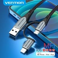 Tions MFi USB Kabel für iPhone 12 Pro Max XR 13 2 in 1 Schnelle Ladegerät Blitz USB Kabel für samsung Xiaomi Micro USB Daten Kabel
