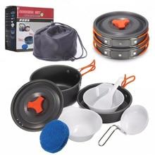 Открытый 8 шт./компл. портативный для приготовления пищи на открытом воздухе антипригарные кастрюли сковородки портативные походные кулинарный набор, кухонная посуда дорожная посуда