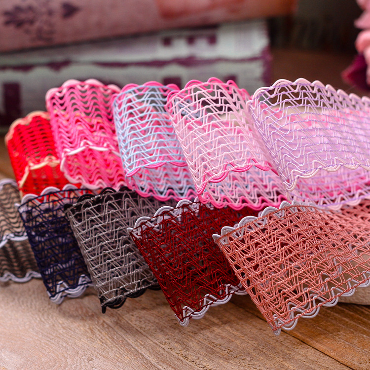 100yards 16 25 40mm waved picot edge mesh ribbon for hair bow accessories diy handcraft supplies bouquet flower packing bow in Ribbons from Home Garden
