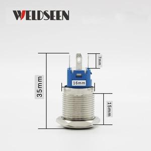 Image 4 - Interruptor de botón de Metal de 16mm luz LED 12V 24V 36V 48V 110V 220V tipo de bloqueo momentáneo botón de encendido de parada de arranque