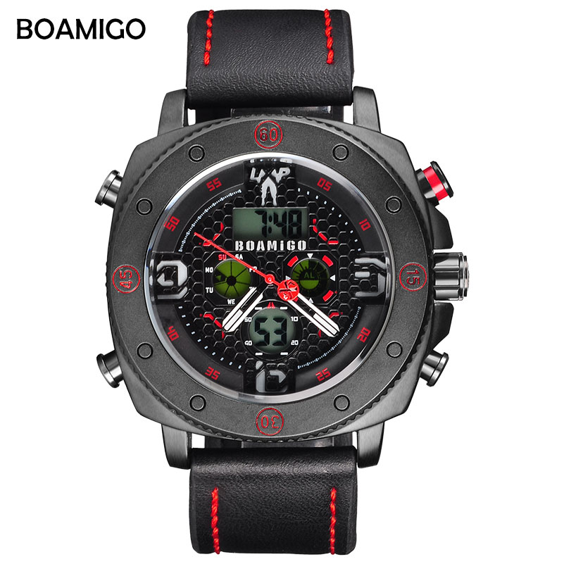 BOAMIGO  Hot Men Watches Fashion Casual Bussiness Quartz Watch Men Military Chronograph Sport Digital Wristwatch Reloj Hombre