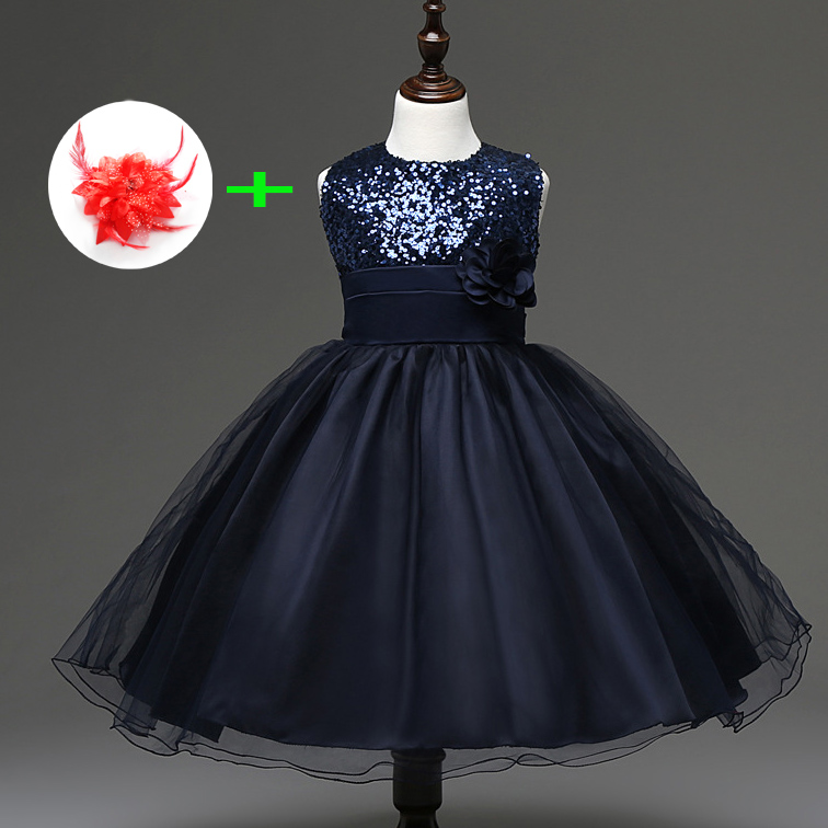 Childrens Wedding Dress for 3 Years To 11 Years Kids Girl Clothes Princess Knee Length Blue Red Party Wear Dresses for Girls 4
