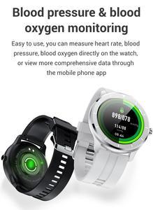 Image 4 - LEMFO ساعة ذكية الرجال النساء كامل شاشة تعمل باللمس مخصص مراقب معدل ضربات القلب رسالة تذكير الصحة الرياضة المقتفي Smartwatch T6