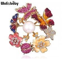 Женская брошь в форме бабочки Wuli & baby, эмалированная брошь в форме цветка, жемчужное украшение для свадьбы, офиса, Повседневная брошь, Подаро...