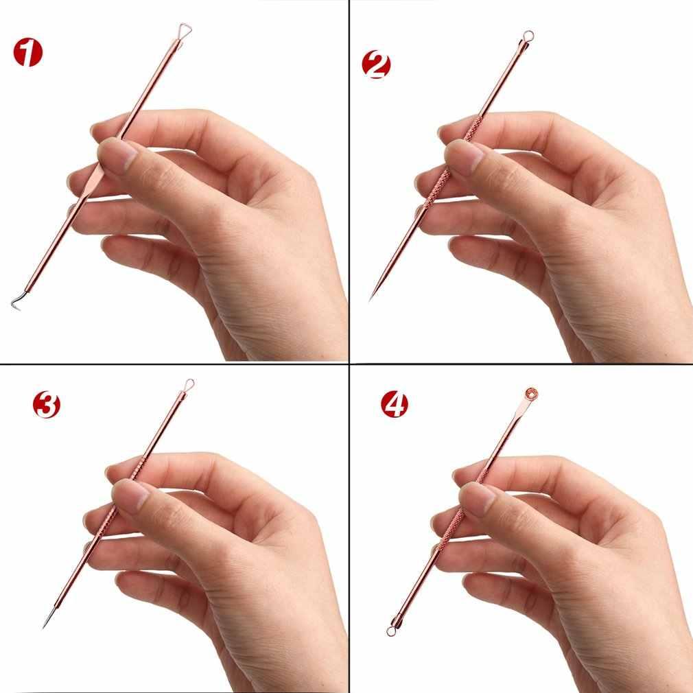 4 sztuk/zestaw dwustronne igły do zwalczania trądziku zaskórnika Blemish Remover pryszcz Comedone twarzy czyszczenie narzędzie do pielęgnacji skóry ze stali nierdzewnej