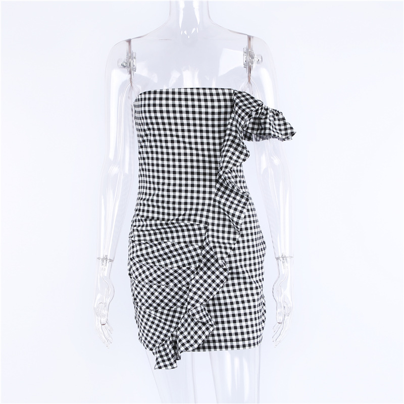 Spring and summer new style Black and white plaid irregular ruffled dress Hip strap dress One shoulder dress in Dresses from Women 39 s Clothing