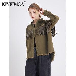 Image 4 - Vintage Stylish Fringe Beaded Loose Denim Jacket Coat Women 2020 Fashion Long Sleeve Frayed Trim Ladies Outerwear Chaqueta Mujer