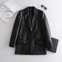 2021 lange PU Faux Leder Blazer Frauen Leder Jacke Mantel Marke Neue frauen Jacken Oberbekleidung Damen Mäntel Weibliche Leder anzug