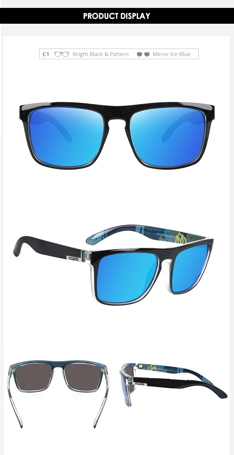 KDEAM LUXURY Polarized Sunglasses Men 100% UV Protection TR90 Unbreakable Frame Square Outdoor Mirrored Eyewear KD1006