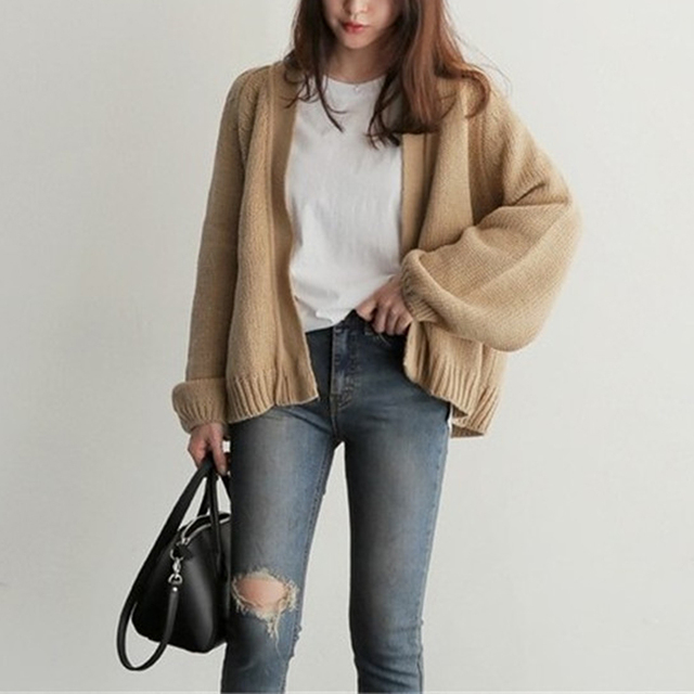 Women's Knitting  Loose Sweater Ladies' Casual Style Coat Solid Color Outwear Casual Open Front Cardigan Coat