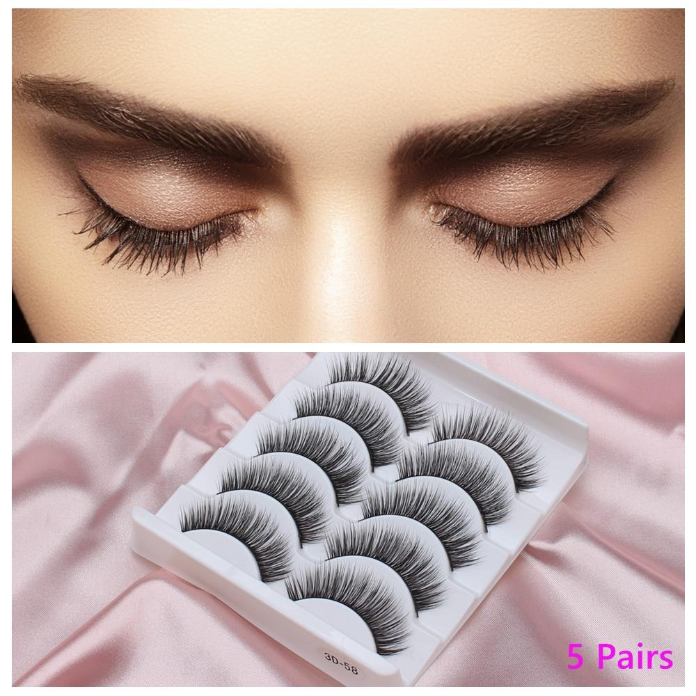 3D 5 Pairs False Eyelahes Eyelashes Extension Faux Mink Lashes Bundles Wispy Fake Individual Eye Lashes