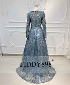 Image 2 - Дубай вечернее платье с длинными рукавами ТРАПЕЦИЕВИДНОЕ кружевное роскошное вечернее платье с кристаллами и бусинами официальное вечернее платье Vestido de Festa Longo