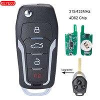 Mando a distancia de coche con tapa actualizado KEYECU 315/433MHz opcional 4D62 Chip 3 botones para Subaru Forester 2008-2012