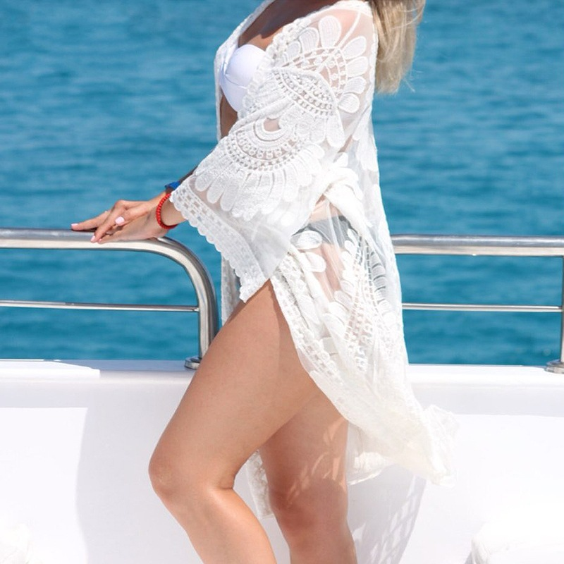 Europe And America Hot Selling Lace Big Circle Beach Skirt Bikini Outer Blouse Long Sleeve Holiday Skirt Airable Shirt