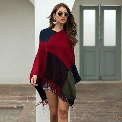 Invierno capa Mujer otoño Patchwork capas chal Cachemira Cuello de piel ponchos de abrigo Mujer Invierno Elegantes capa Poncho Mujer 2020