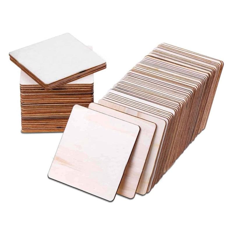 1 шт. 10x10 см необработанные деревянные кусочки, квадратные пустое дерево, натуральные Ломтики для поделок «сделай сам», цветные подставки дл...