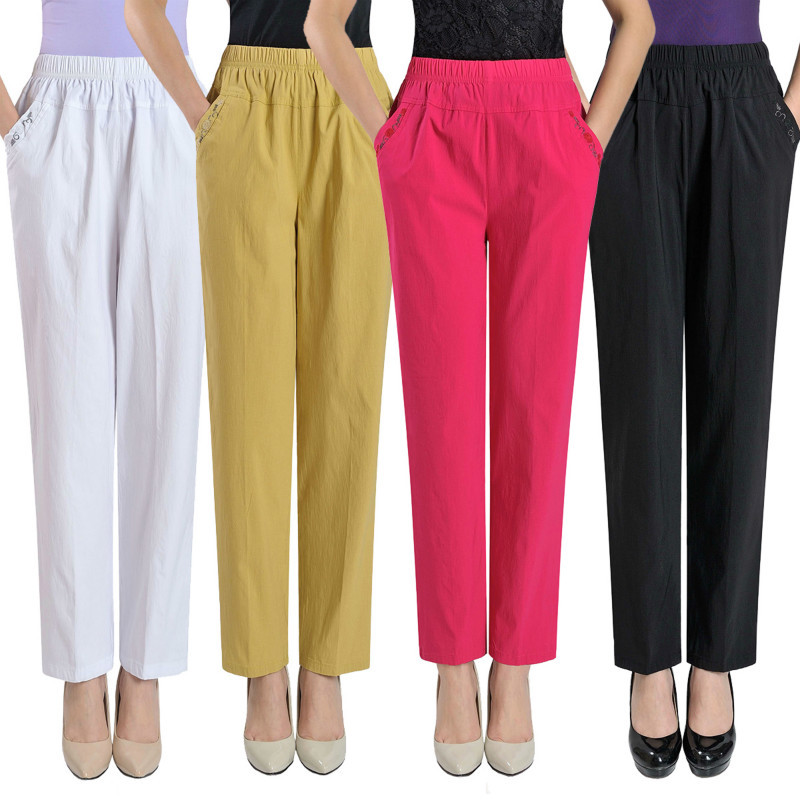 Middle Aged Women Casual Straight Pants Female Loose Elegant Fashion Spring Summer Elastic Waist Solid Color Pants Plus Size 4XL