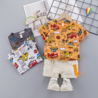 New Baby Boy Clothing Sets Children Summer Casual Short Sleeve Full Printed Car Short Sleeve Overalls Suit Kids Clothes