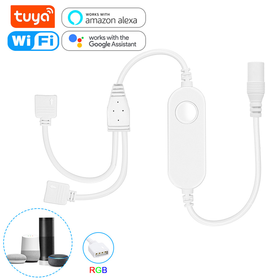 Tuya WiFi Smart LED Controller 4 Pin RGB LED Strip Light Contoller 5-24V APP Remote Voice Control Work with Alexa Echo Google