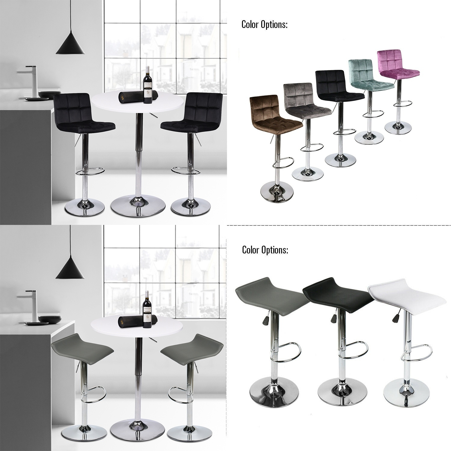 3-Piece Set Bar Stools Table PU Leather Velvent Cushion Chair Adjustable Swivel Counter Pub Dining