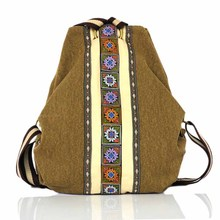 2020 New Shoulder Ethnic Style Hand Made Embroidery Bag Canvas Women's Backpack Travel Outdoor Student Tassel Tote Messenger Bag