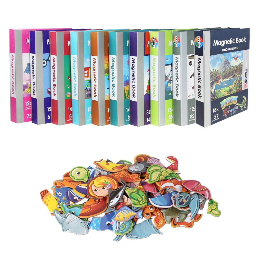 10 Types Magnetic Puzzles Jigsaw Toy Magnetic Book Cartoon Animals 3d Puzzle Montessori Learning Educational Toy For Kids Gift Puzzles Aliexpress