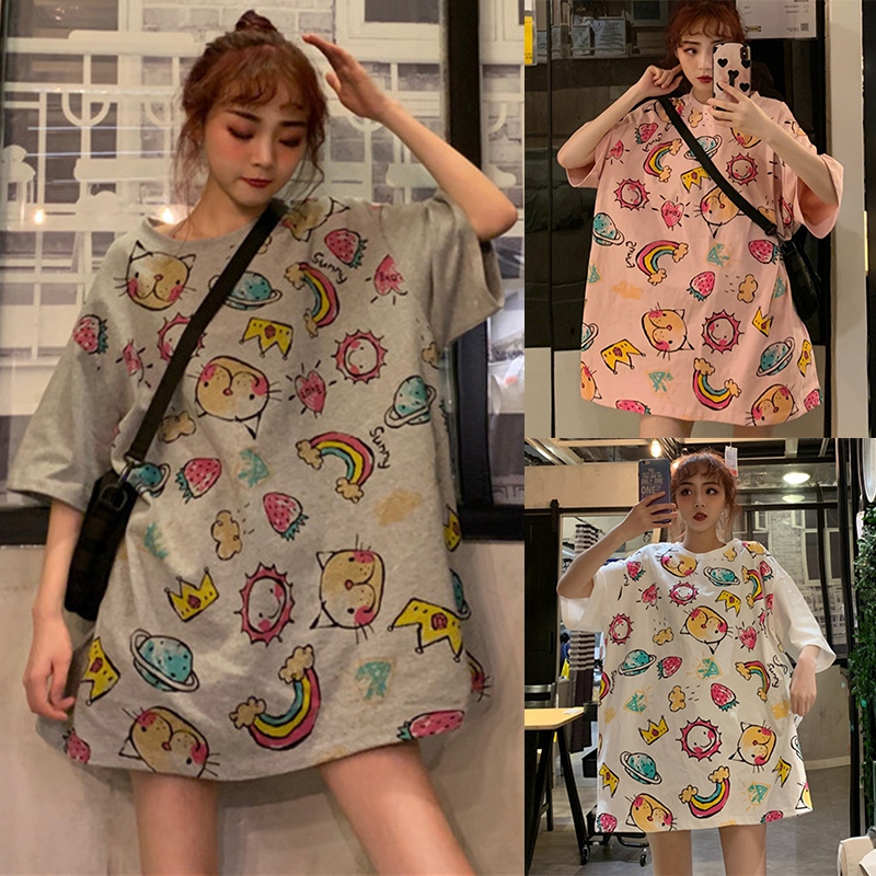 Long Clothing T shirt Preppy Style Cartoon Print Tops Round Neck Short Sleeve Loose Plus Size Twill Casual Women 39 s Tees in T Shirts from Women 39 s Clothing