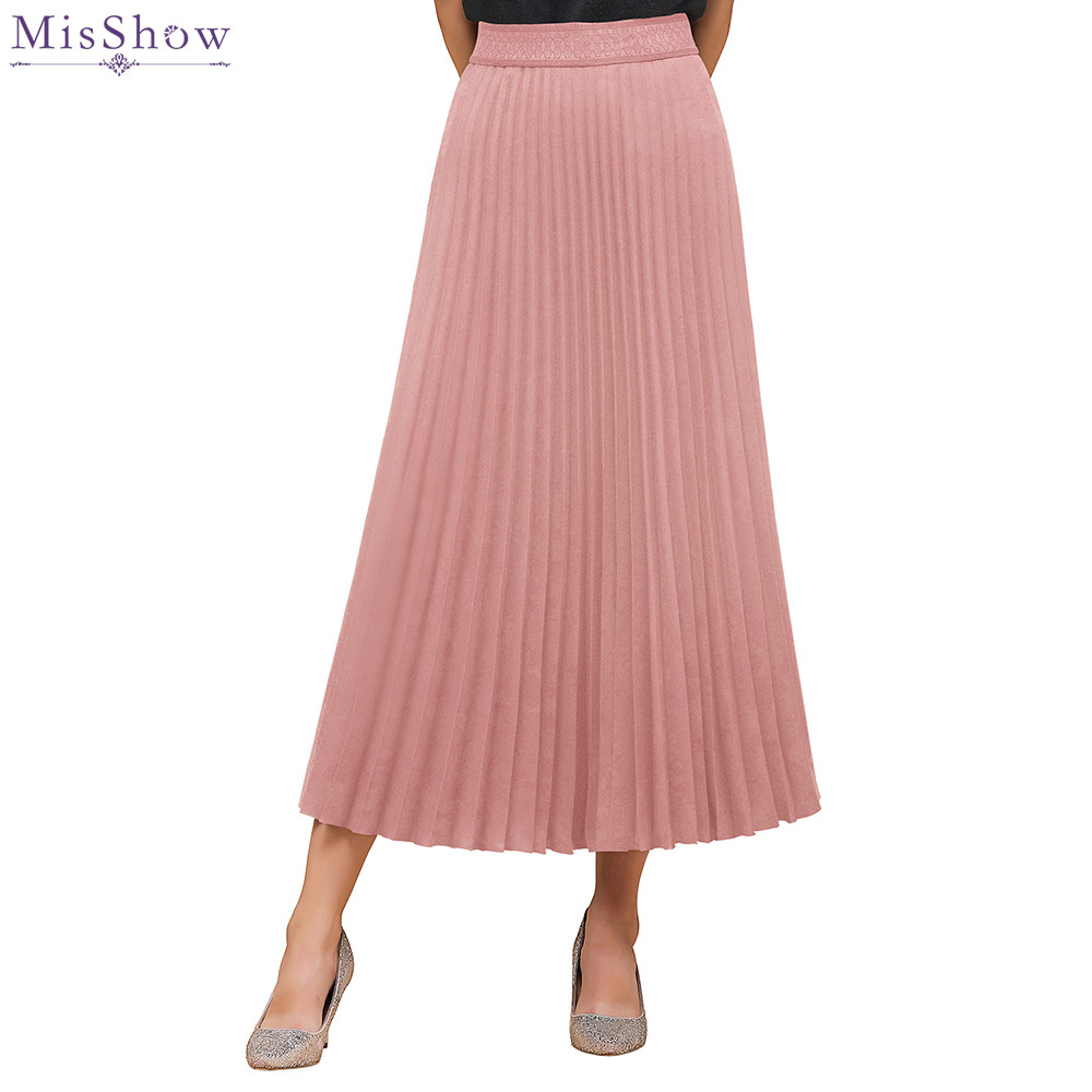 Misshow Spring Autumn High Waist Pink Long Pleated Women Skirt 2020 Solid Breathable Elastic Midi Skirts Womens Jupe Femme