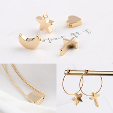 10pcs jewelry accessories plated copper gold color retention love the moon five-pointed star cross  pendant pendant earrings