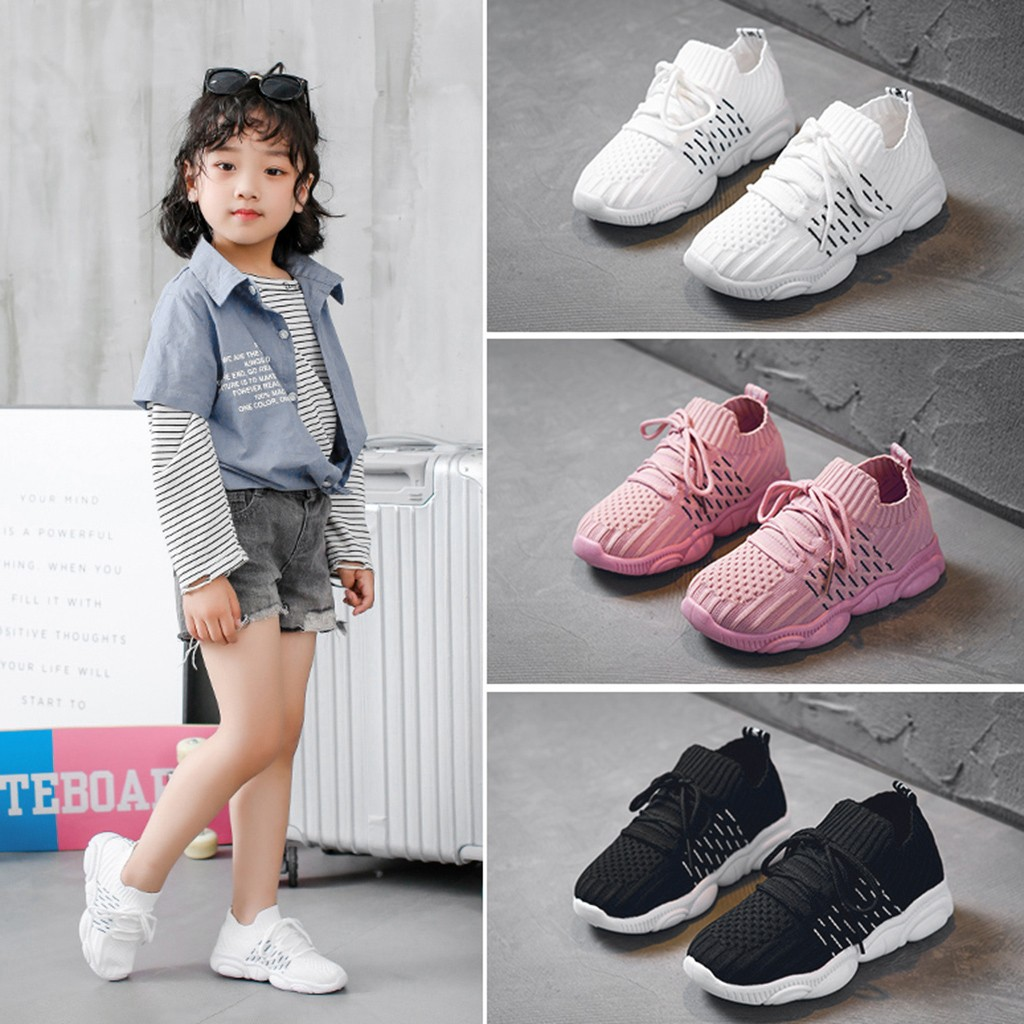 Children Kids Baby Girls Boys Mesh Solid Run Sport Sneakers Casual Shoes