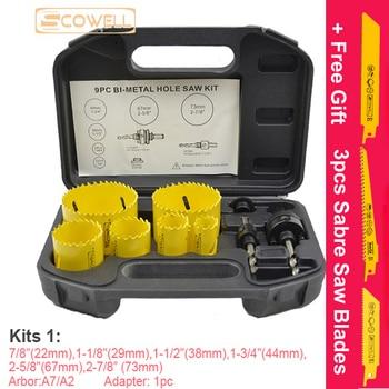 30% Off 9pcs Bi metal Holesaw Cutter Core Drill For wood metal drywall Hole Saw Circle Saw Cutter DIY Tools Kits