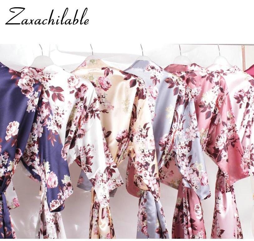 New Floral Satin Robe Bridal Party Gift Robes Silk Robe Bridesmaid Robe Flower Girl Robe Short Solid Night Sleeping Robe