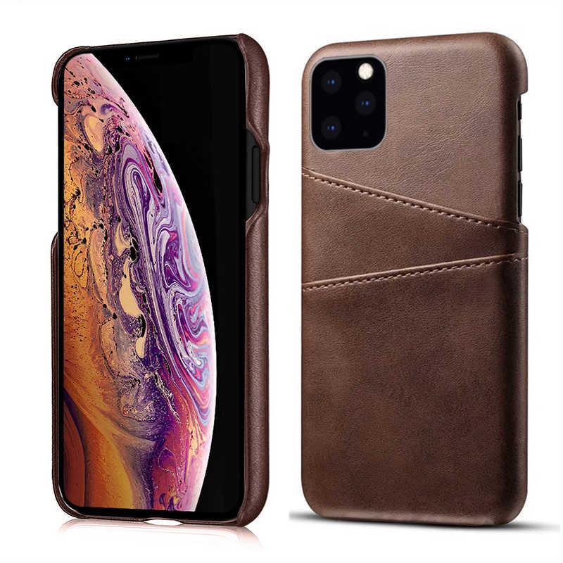 Skórzane etui dla iPhone 11 pro max luksusowe tylna pokrywa portfel z saszetką na karty etui na telefon