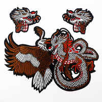 1 Pcs Chinese Dragon Snake Animals Embroidered Patches Iron on Patches Applique for Garment Clothes Handmade Sewing Craft